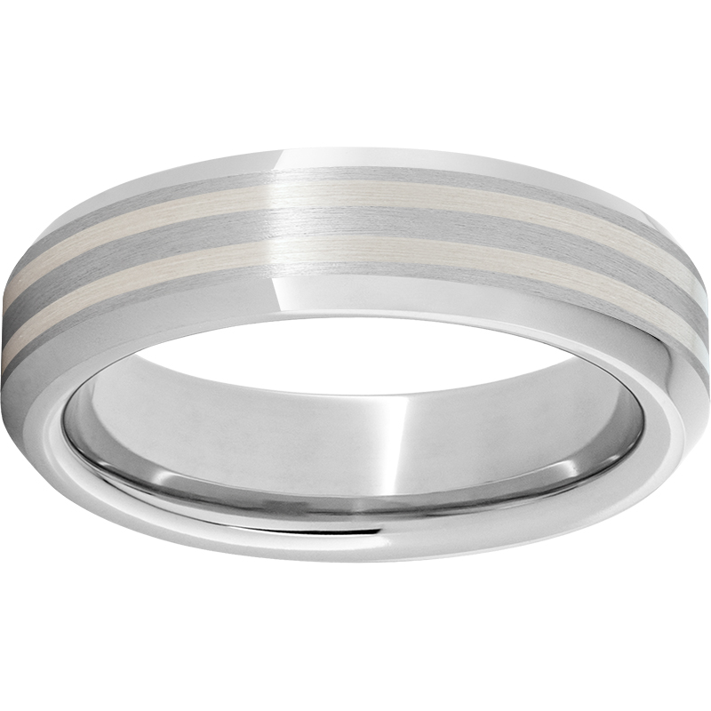 6MM BEVEL SERINIUM BAND WITH (2) SILVER INLAYS $525