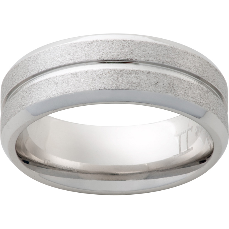 8MM BEVEL SERINIUM BAND WITH CENTER GROOVE AND STONE FINISH $420