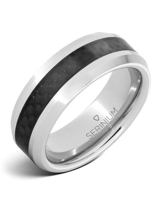 Black Ice — Black Carbon Fiber Inlay Serinium® Ring