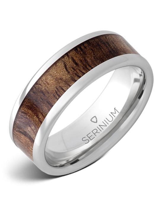 Mahalo — Tiger Koa Wood Inlay Serinium® Ring