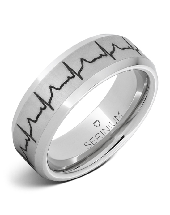 8mm Serinium® Band Heartbeat Engraving Ring