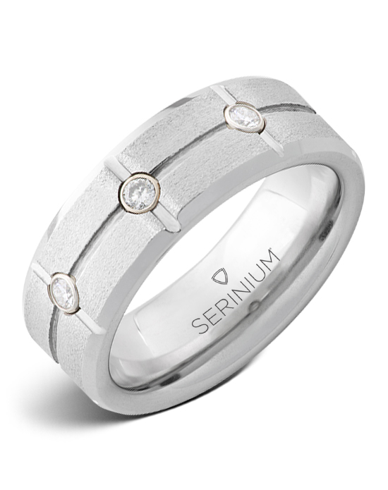 Diamond Grid — Stone Finish Serinium® Ring