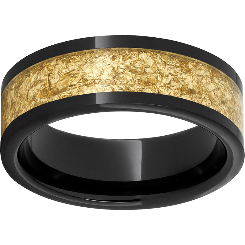 Black Diamond Ceramic Pipe Cut Band with 5mm Yellow Gold Leaf Inlay - $297.00