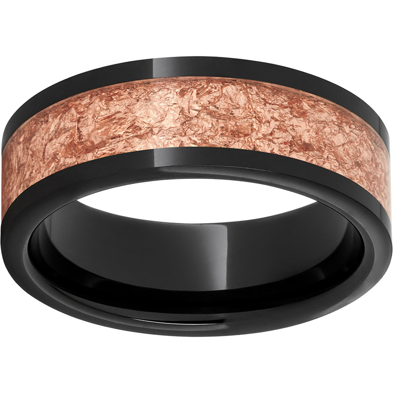 Black Diamond Ceramic Pipe Cut Band with 5mm Rose Gold Leaf Inlay - $297.00