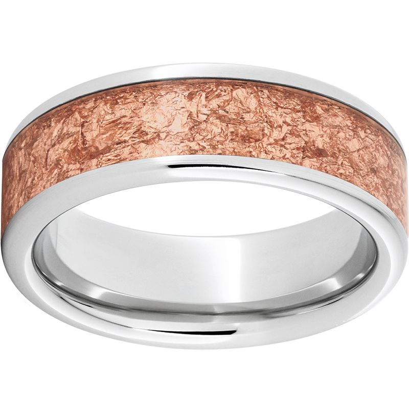 Serinium® Pipe Cut Band with 5mm Rose Gold Leaf Inlay