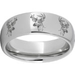 RMSA002738 Serinium® Pipe Cut Band with Deer Head Laser Engraving $390