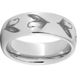 RMSA002329 Serinium® Domed Band with Fly Fishing Hook Laser Engraving $390