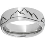 RMSA002816 Serinium® Pipe Cut Band with Mountain Range Laser Engraving $390